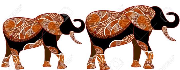 elefantes-africanos-en-el-estilo-tnico-de-los-diversos-elementos-sobre-un-fondo-blanco-Foto-de-archivo