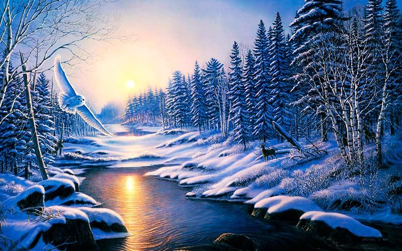 Pintura-paisaje-bonito-de-invierno-Atardecer-en-Invierno-James-Meger