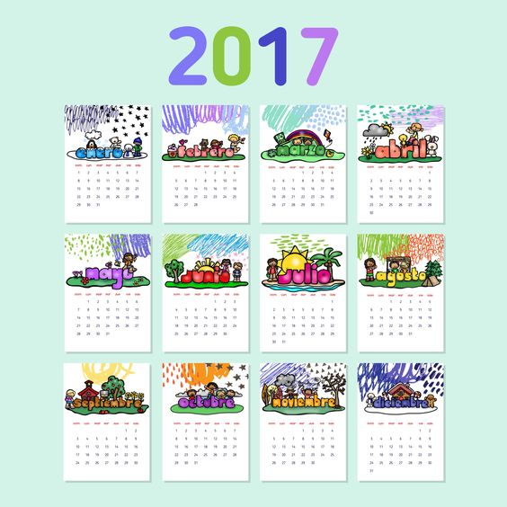 2017 calendar template with colorful doodle decorative elements. Week starts Sunday. Vector illustration.