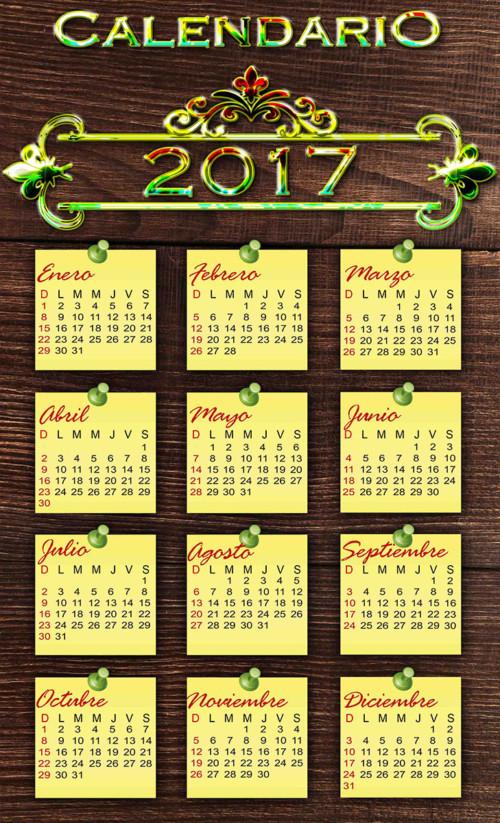 calendario-2017-en-tabla-de-madera