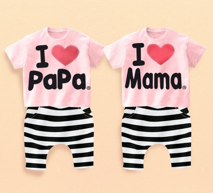 Amo-papa-baby-Mama-muchacho-niñas-superior-camiseta-de-la-camiseta-negro-corta-de-gaza-blanco