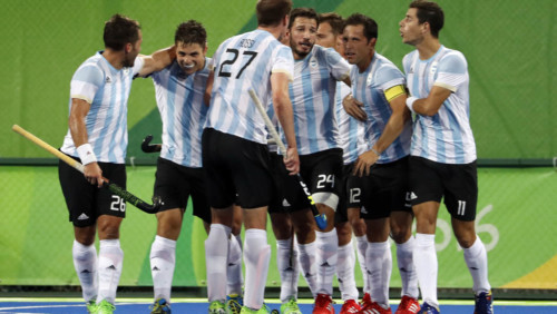Players from Argentina celebrate after scoring against Belgium during a men's field hockey gold medal match at the 2016 Summer Olympics in Rio de Janeiro, Brazil, Thursday, Aug. 18, 2016. (AP Photo/Dario Lopez-Mills)