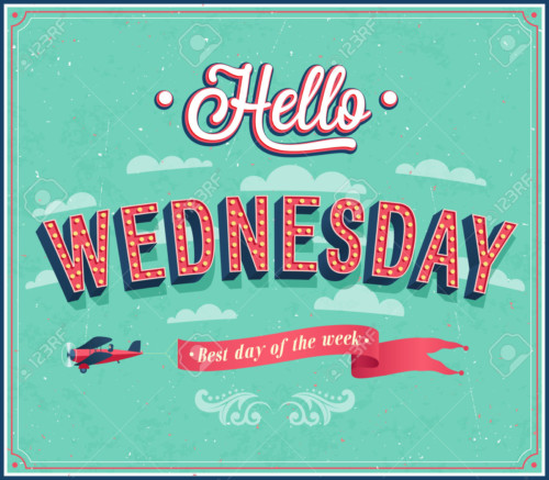 Hello Wednesday typographic design. Vector illustration.