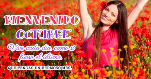 Imagen de mujer rodeada de flores en Octubre. http://fechaespecial.com/