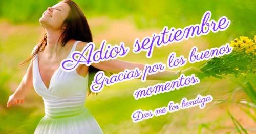 Imagen de mujer con fondo amarillo y frase despidiendo al mes de septiembre.  http://fechaespecial.com/