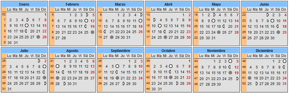 Calendarios espectaculares 2017 para imprimir for Fase lunar octubre 2016