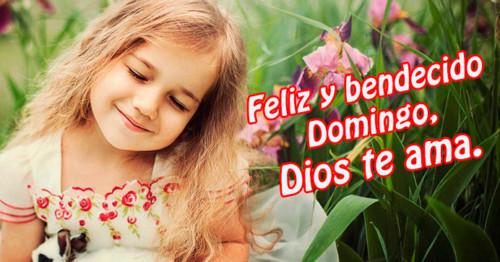 Imagen de niña junto a plantas con frase de domingo http://fechaespecial.com/