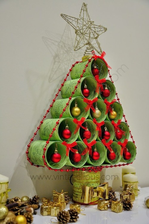 45 rboles reciclados navide os dise os diferentes for Adornos para navidad hechos en casa