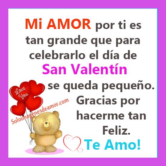 Großartig Mi Amor Por Vos Es Muy Grande Que Para Celebrar San Valentin Queda Muy  Chicou2026 Gracias Por Hacerme Muy Feliz